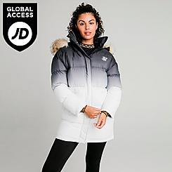 Women's SikSilk Faded Faux Fur Long Puffer Hooded Jacket