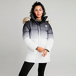 Women's SikSilk Faded Faux Fur Long Puffer Hooded Jacket