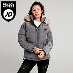 Women's SikSilk Padded Faux Fur Puffer Hooded Jacket