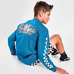 Boys' Vans Exposition Checkered Sleeve Crewneck Sweatshirt