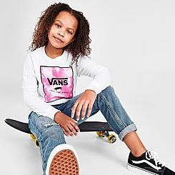 Girls' Vans Cloudy Box Long-Sleeve Boyfriend T-Shirt
