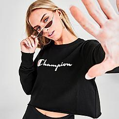 Women's Champion Life Boyfriend Script Long-Sleeve Crop T-Shirt