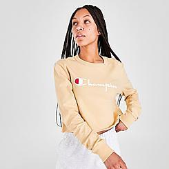 Women's Champion Script Crop Long-Sleeve T-Shirt