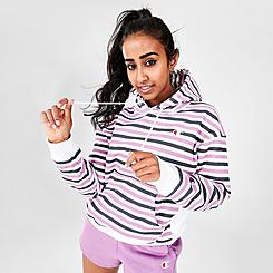 Women's Champion Striped Pullover Hoodie